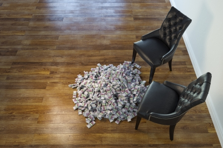 Interior With Black Chairs And Money On Laminate Floor Stock Photo - 23041792