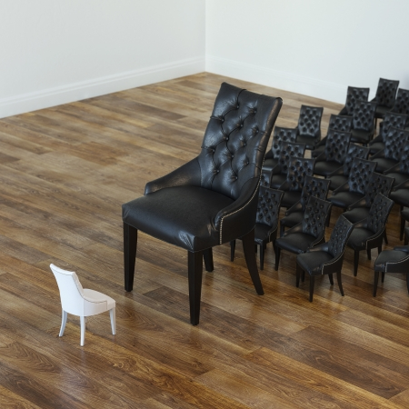 Conceptual Picture Of Many Black Leather Chairs And White One 2d Version photo
