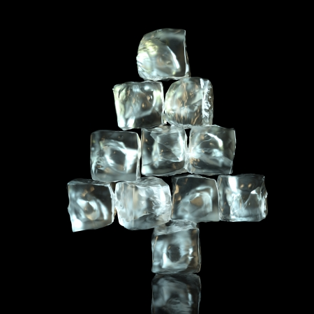 New Year Tree Shape Of Ice Cubes On Black Background photo