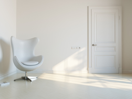 Minimalist White Interior Room With Luxury Armchair 2d Version Stock Photo