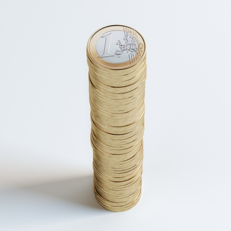 Stack Of 1 Euro Coins On White Background photo