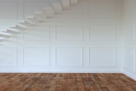 Interior de la habitación vacía Whith escaleras hasta el segundo piso Foto de archivo - 23041817
