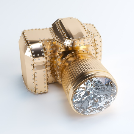3d image: Luxury Photo Camera  Made Of Gold And Diamond