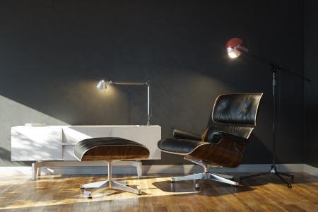 Details van het huis van rust Met Lounge Chair en stijlvolle lampen