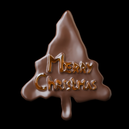 christmas cookie: New Year Tree Shaped Chocolate Cookie Merry Christmas Lettering