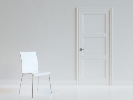 light classroom: Empty White Room Interior With Chair  Stock Photo