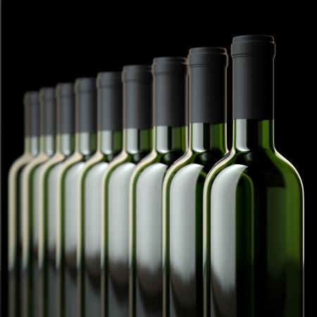 rows: Flessen rode wijn in de wijnkelder of Liquor Store