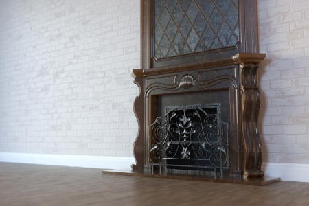 view of an elegant living room: Vintage Marble Fireplace In Classic Room Interior With Hardwood Floor