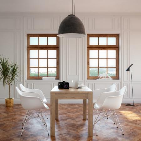 iluminacion: Elegancia comedor con mesa de madera clásica y sillas acogedoras