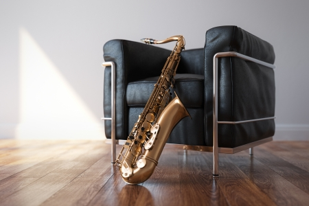 Cozy Leather Arnchair With Saxophone In Classic Bright Room photo