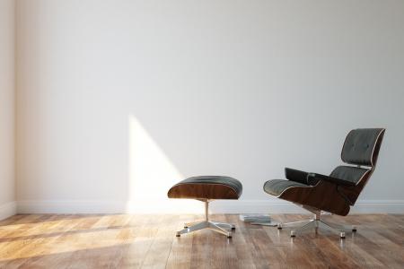 ミニマリスト スタイルの内装で居心地の良い黒の革肘掛け椅子