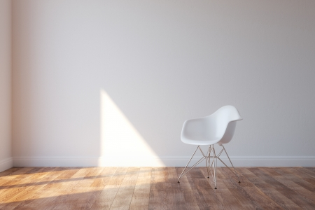 Stylish White Chair In Minimalist Style Interior photo
