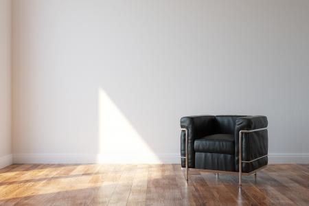 Black Luxury Leather Armchair In Modern Style Interior