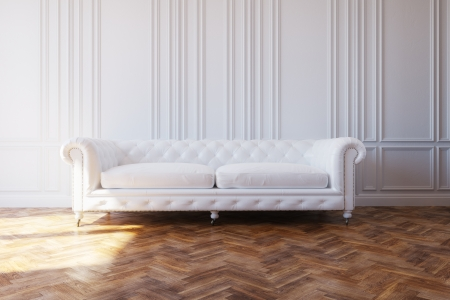 White Luxury Leather Sofa In Classic Design Interior Stock Photo