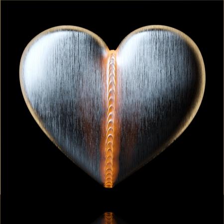 i nobody: Beld Heart for Valentines Day Greeting Card Design On Black
