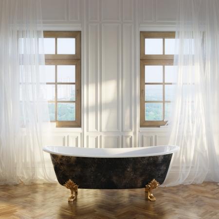 近代的な部屋のインテリアの高級レトロなバスタブ付き第 1 版