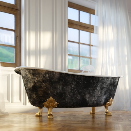 bathtub: Luxury Retro Bathtub In Modern Room Interior 2d Version Stock Photo