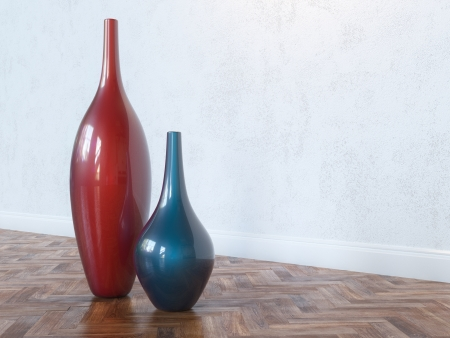 ceramic bottle: Decorative Ceramic Red And Blue Vases On Wooden Floor Stock Photo