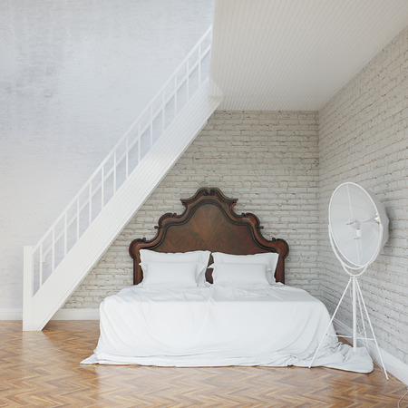 White Vintage Bedroom With Stairs To Second Floor photo