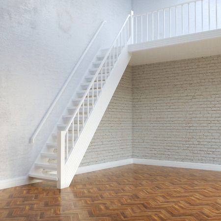 White Bricks Interior Walls With Stairs To Second Floor photo