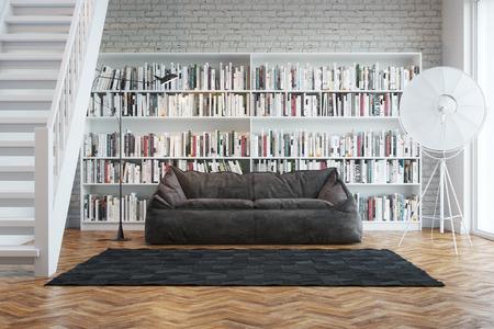 Interior de una casa unifamiliar con libros dispuestos en la biblioteca Foto de archivo - 25872387