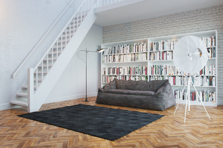 Interior of town house with books arranged in library  perspective view