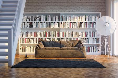 int�rieur de maison: Int�rieur de maison de ville avec des livres dispos�s dans la biblioth�que lumi�re du soleil couchant