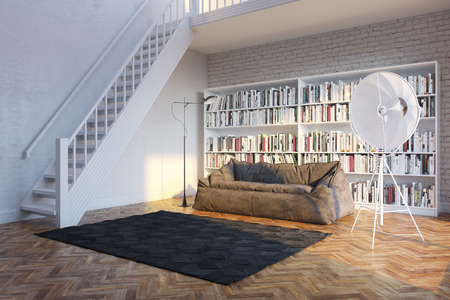 Interior of town house with books arranged in library  sunset light