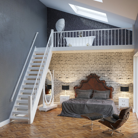 Large Bedroom Interior With Stairs And Vintage Furniture Stock Photo