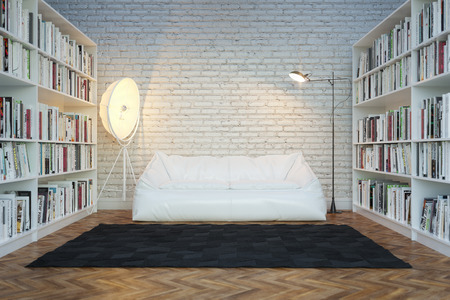 Interior of town house with books arranged in library Standard-Bild