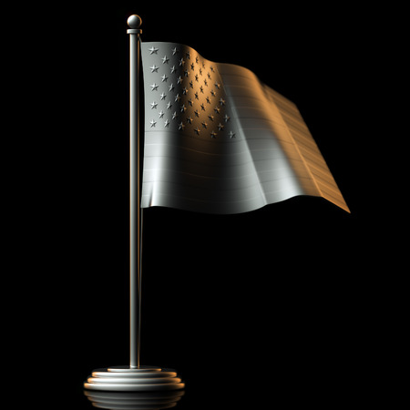 tinplate: Flag Of USA made of Tin-Plate Material on black background Stock Photo