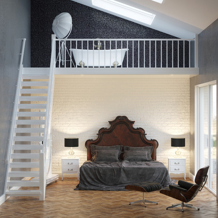 Loft Bedroom Vintage Interior With Brick Wall And Bathtub