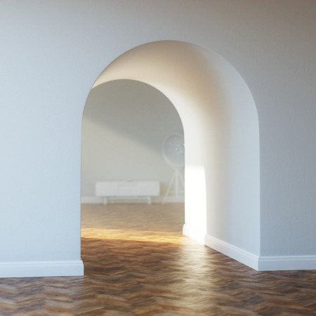 vaulted ceiling: Beautiful home entrance with wood floor  interior with arch