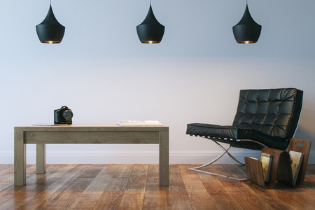 home lighting: Living Or Office Interior Room With Leather Armhair And Table
