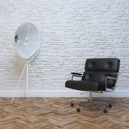 interior lighting: White Brick Wall Interior With Black Leather Office Armchair With Lighting