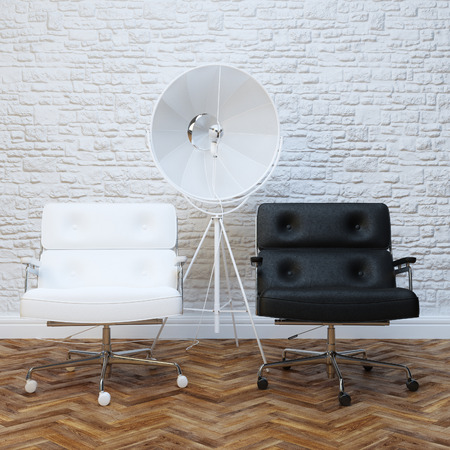 interior lighting: White Brick Wall Office Interior With Two Leather Armchairs Version With Lighting