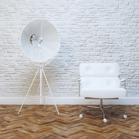 White Brick Wall Office Inteior Leather Armchair And Lighting 免版税图像