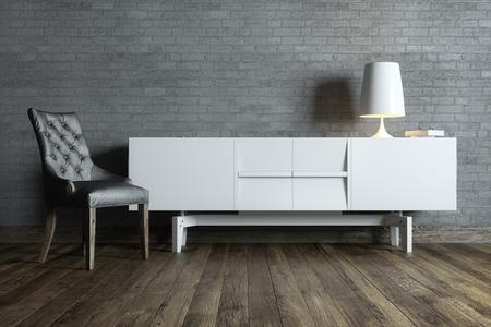 Grey: phòng nội thất hiện đại với đồ nội thất màu trắng và đèn bàn Kho ảnh