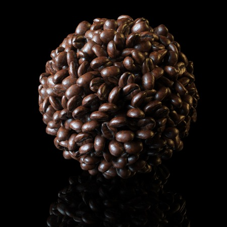 jamoke: Sphere made of roasted coffee beans on black background