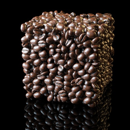 jamoke: Square made of roasted coffee beans on black background