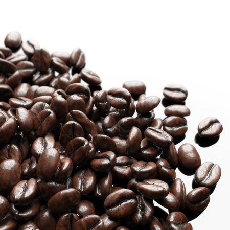 coffeetree: Roasted coffee beans on white background for advertising