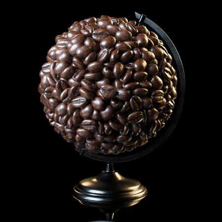 jamoke: The globe made of roasted coffee beans on black background