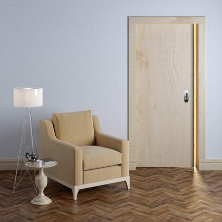 New empty room with beige armchair in classic interior design Standard-Bild