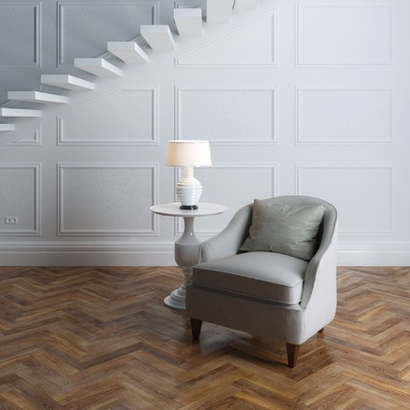 Cozy classic style and grey textile armchair and stairs photo