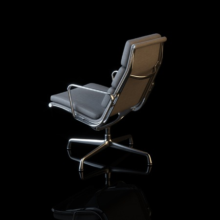 elbow chair: Modern textile office armchair on black background