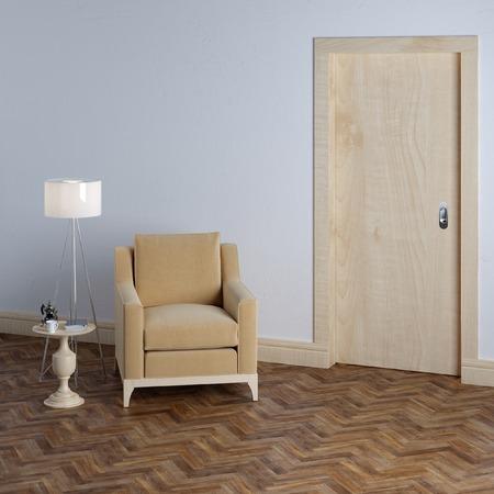 nightstand: New empty room with beige armchair in classic interior design Stock Photo