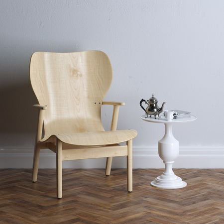 New interior design with wooden armchair. Coffee time. photo
