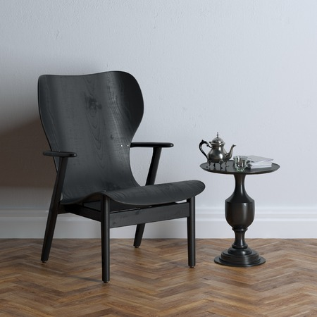 New black wooden chair in classic interior design Standard-Bild