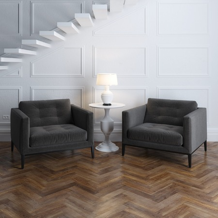 Stylish classic armchairs in luxury interior with stairs 免版税图像