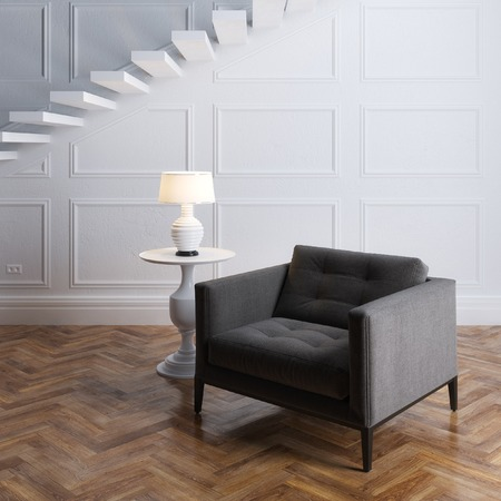idea comfortable: Luxury interior design with dark grey armchair and stairs Stock Photo